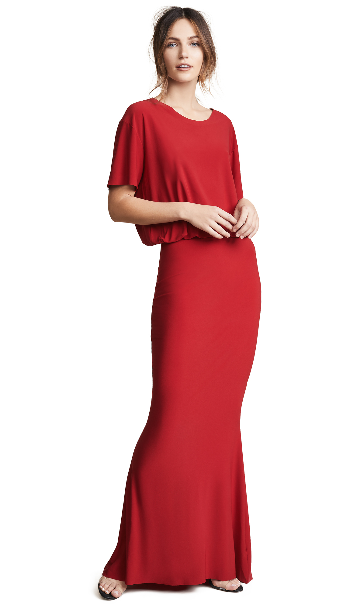 Norma Kamali Boxy Top Fishtail Gown - Red