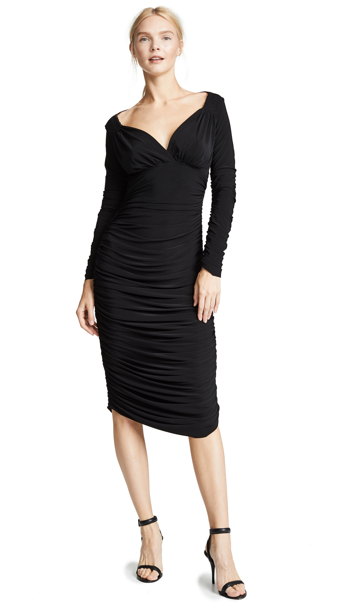 Norma Kamali Long Sleeve Tara Dress In Black