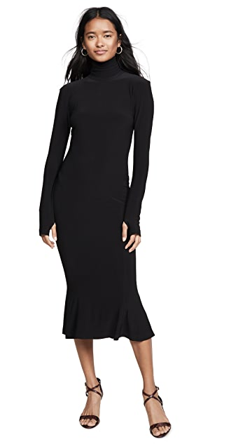 Norma Kamali Turtleneck Fishtail Dress