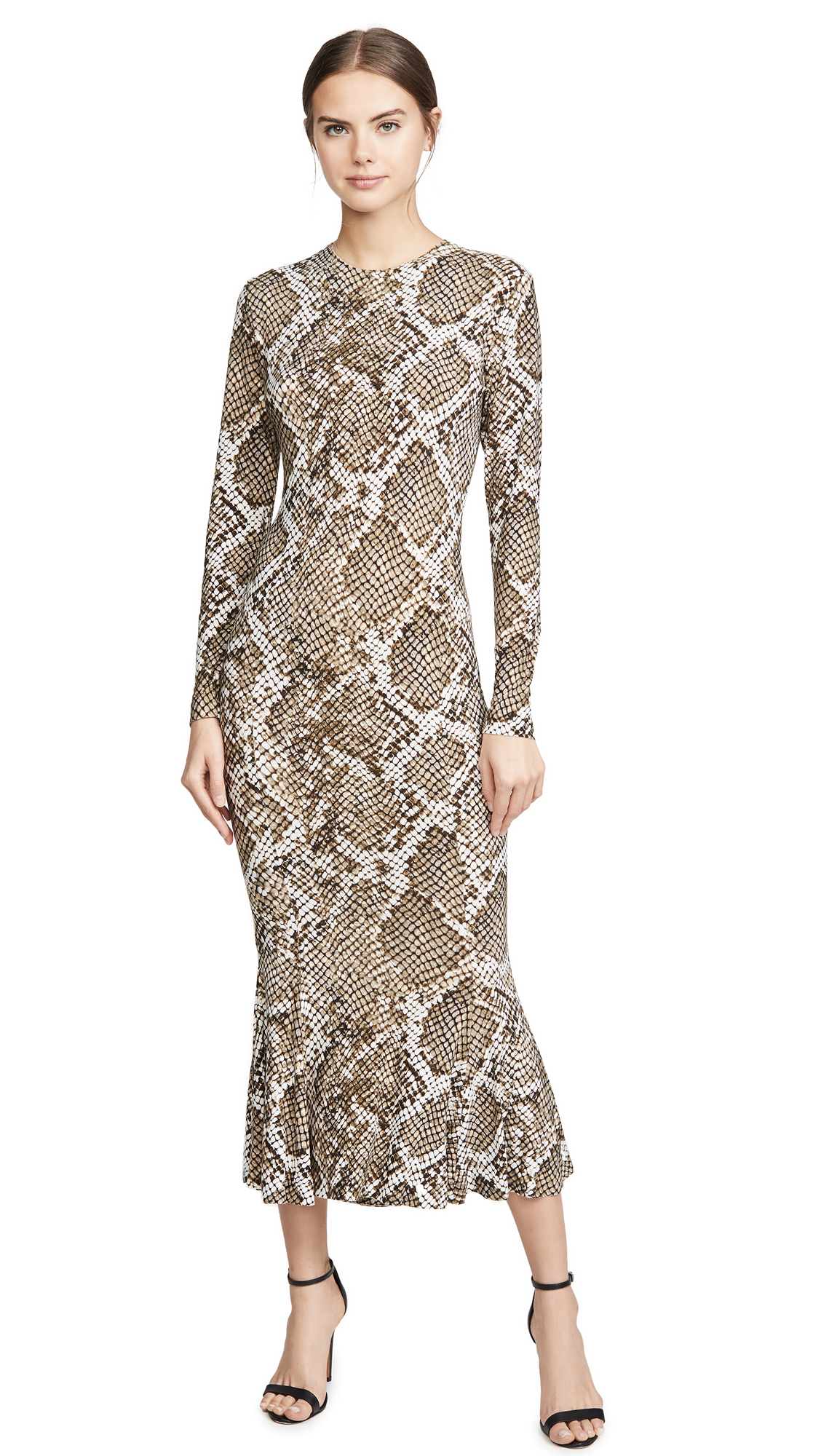 Buy Norma Kamali online - photo of Norma Kamali Long Sleeve Crew Fishtail Dress