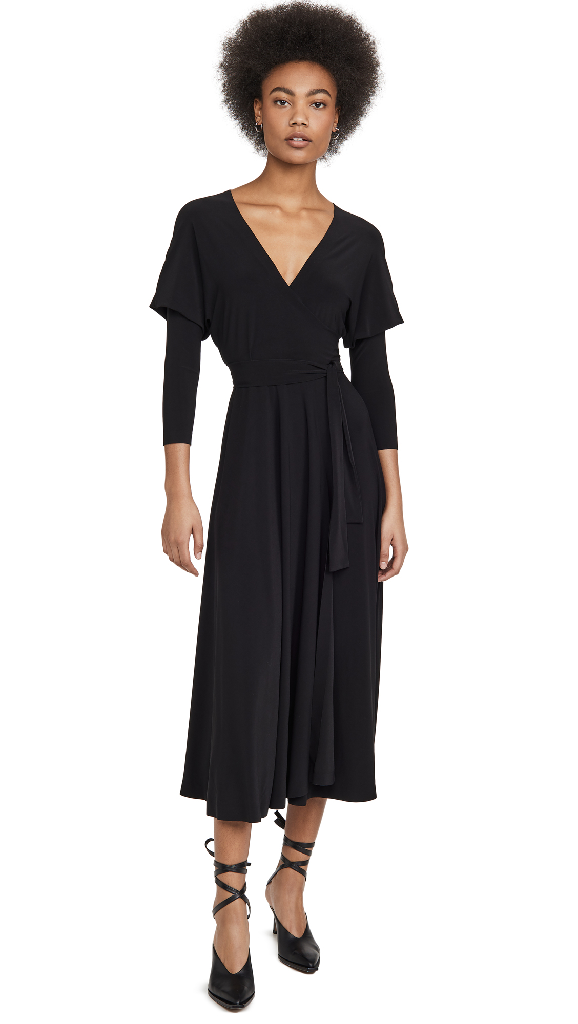 Norma Kamali Dolman Wrap Flared Dress - 40% Off Sale