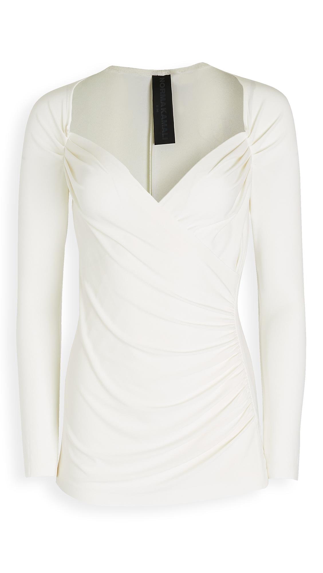Norma Kamali Long Sleeve Sweetheart Side Drape Top - 30% Off Sale