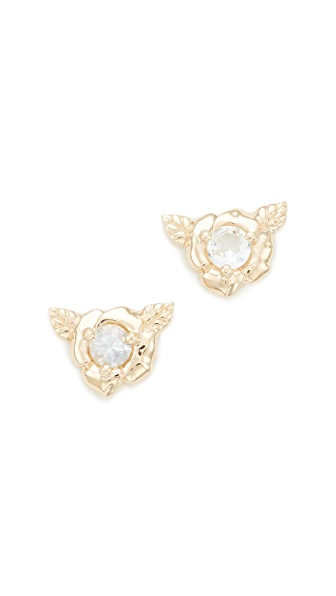 Nora Kogan Small Rose Studs In Gold/White Sapphire