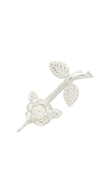 Nora Kogan Sterling Silver Single Rose Stem Ear Crawler