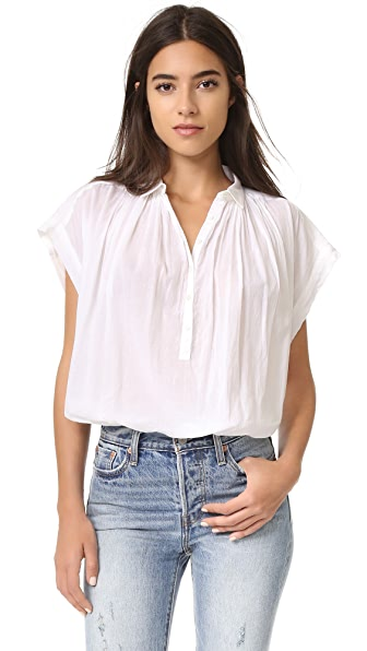 Nili Lotan Short Sleeve Normandy Blouse - White