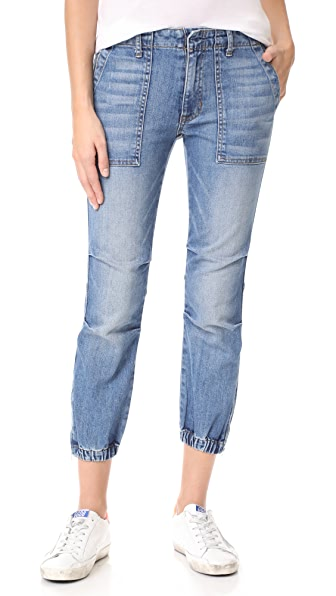 Nili Lotan Cropped French Military Jeans In Duane Wash