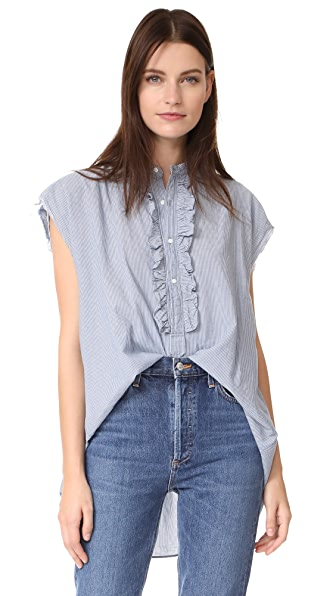 Nili Lotan Charlton Shirt In Indigo/Ivory Stripe