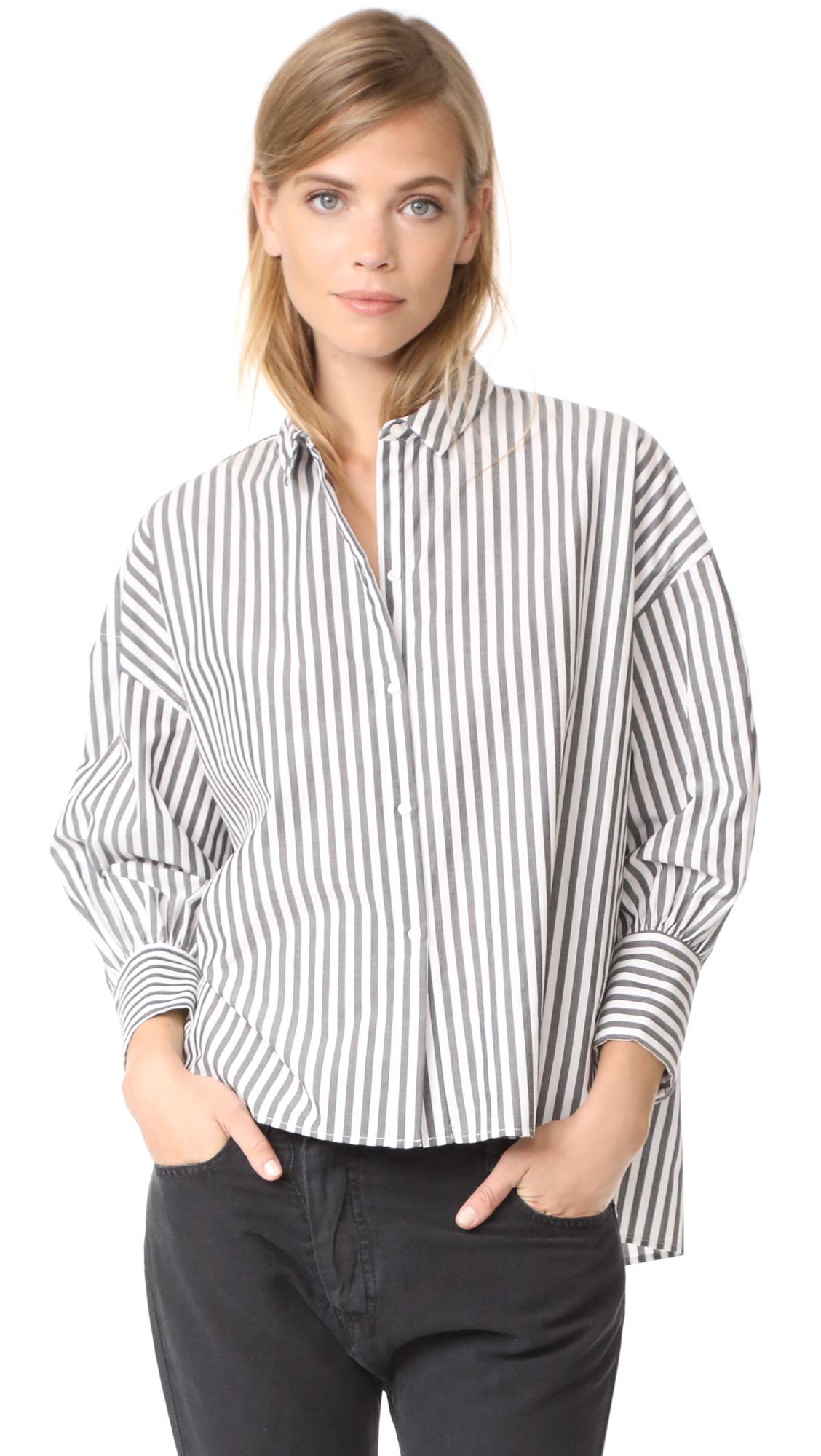 Nili Lotan Fulton Shirt - Black/White Stripe