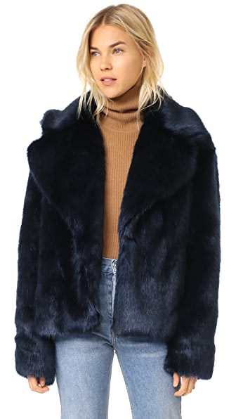 Nili Lotan Sedella Dark Navy Blue Faux Fur Coat
