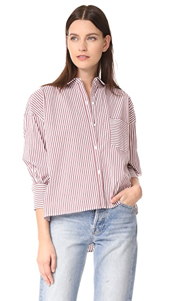 Nili Lotan Filmore Shirt In Burgundy Stripe