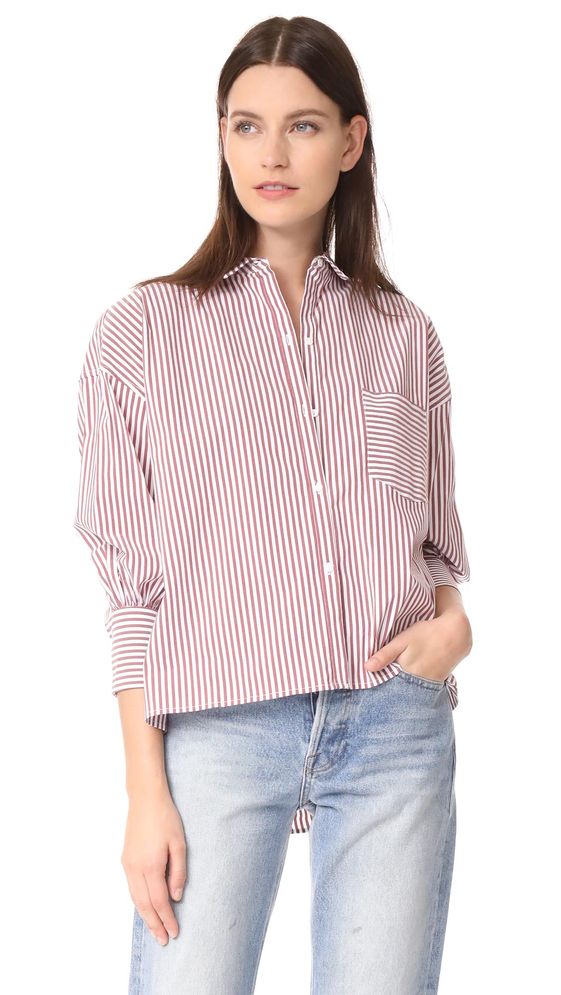 Nili Lotan Filmore Shirt - Burgundy Stripe