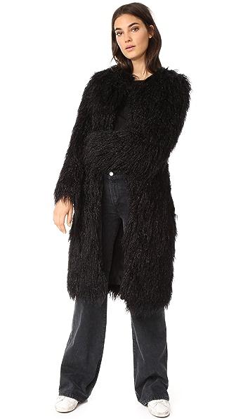 Nili Lotan Moxie Faux Fur Coat - Black