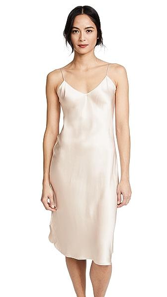 V-neck raw-hem silk-satin dress