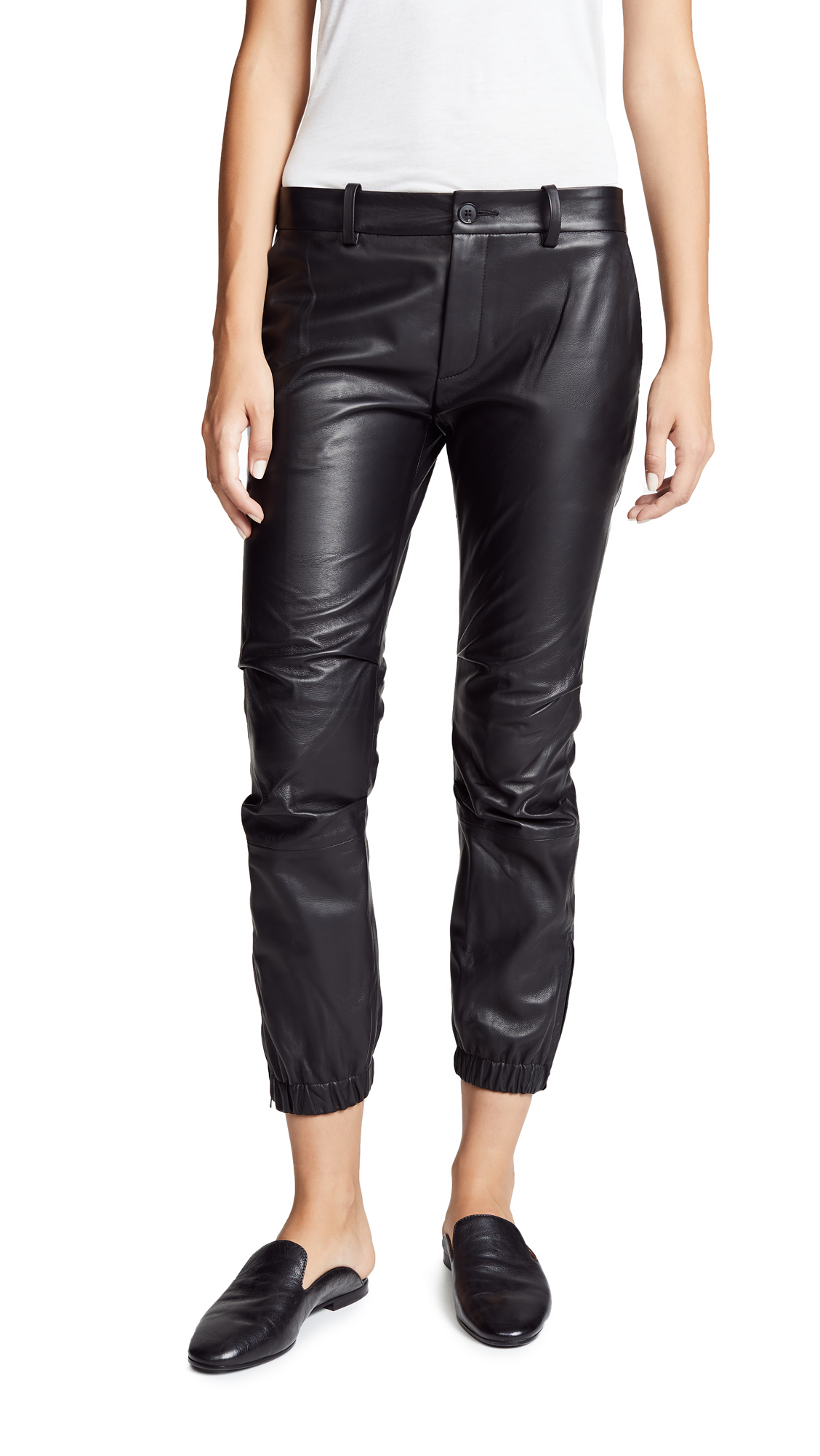 Nili Lotan Cropped French Military Leather Pants In Black