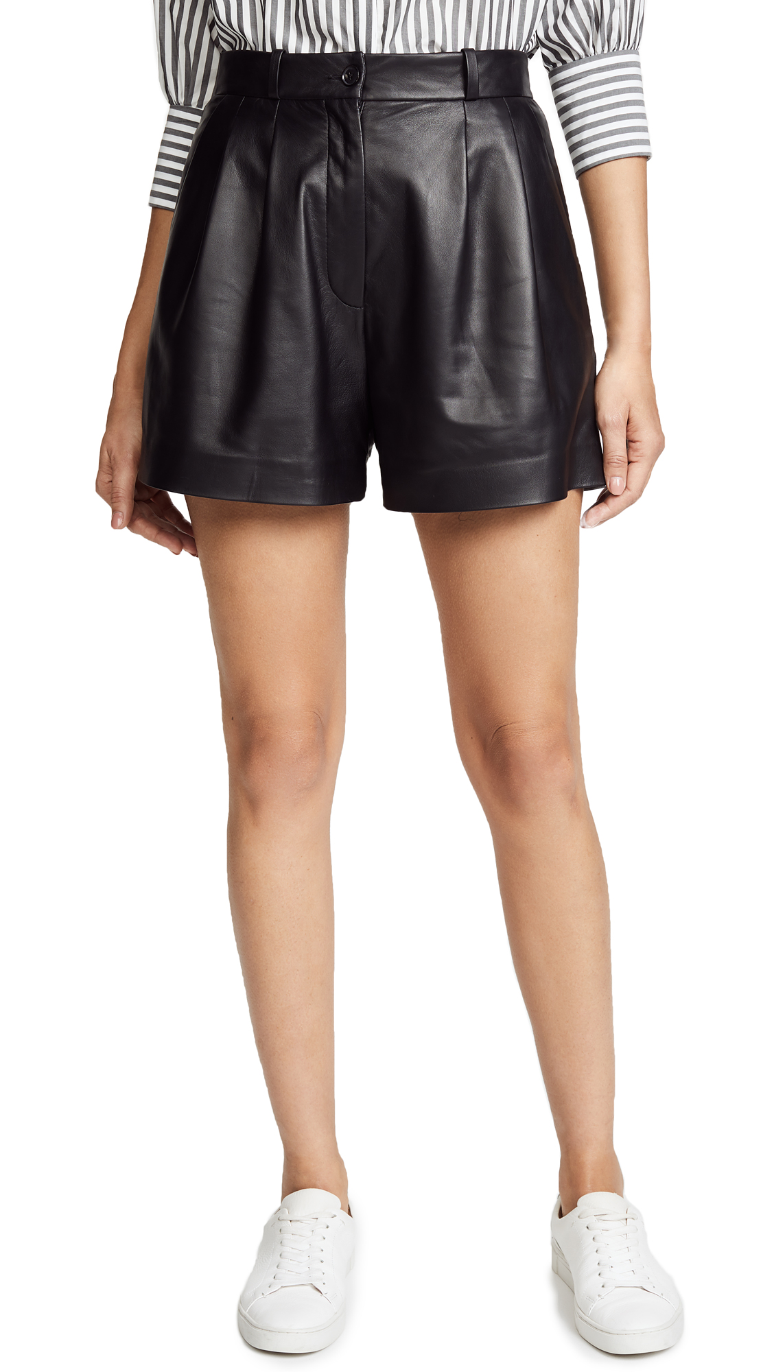 Nili Lotan Roxana Leather Shorts In Black