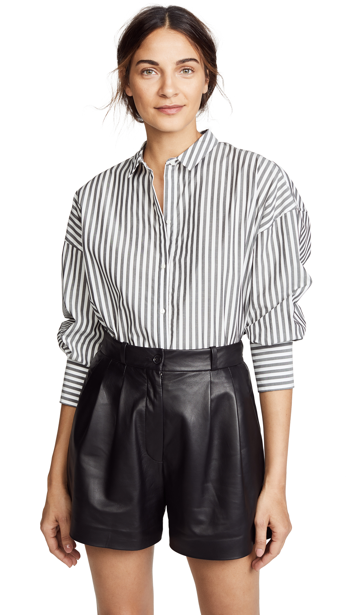 Nili Lotan Fulton Shirt In Black/White Stripe