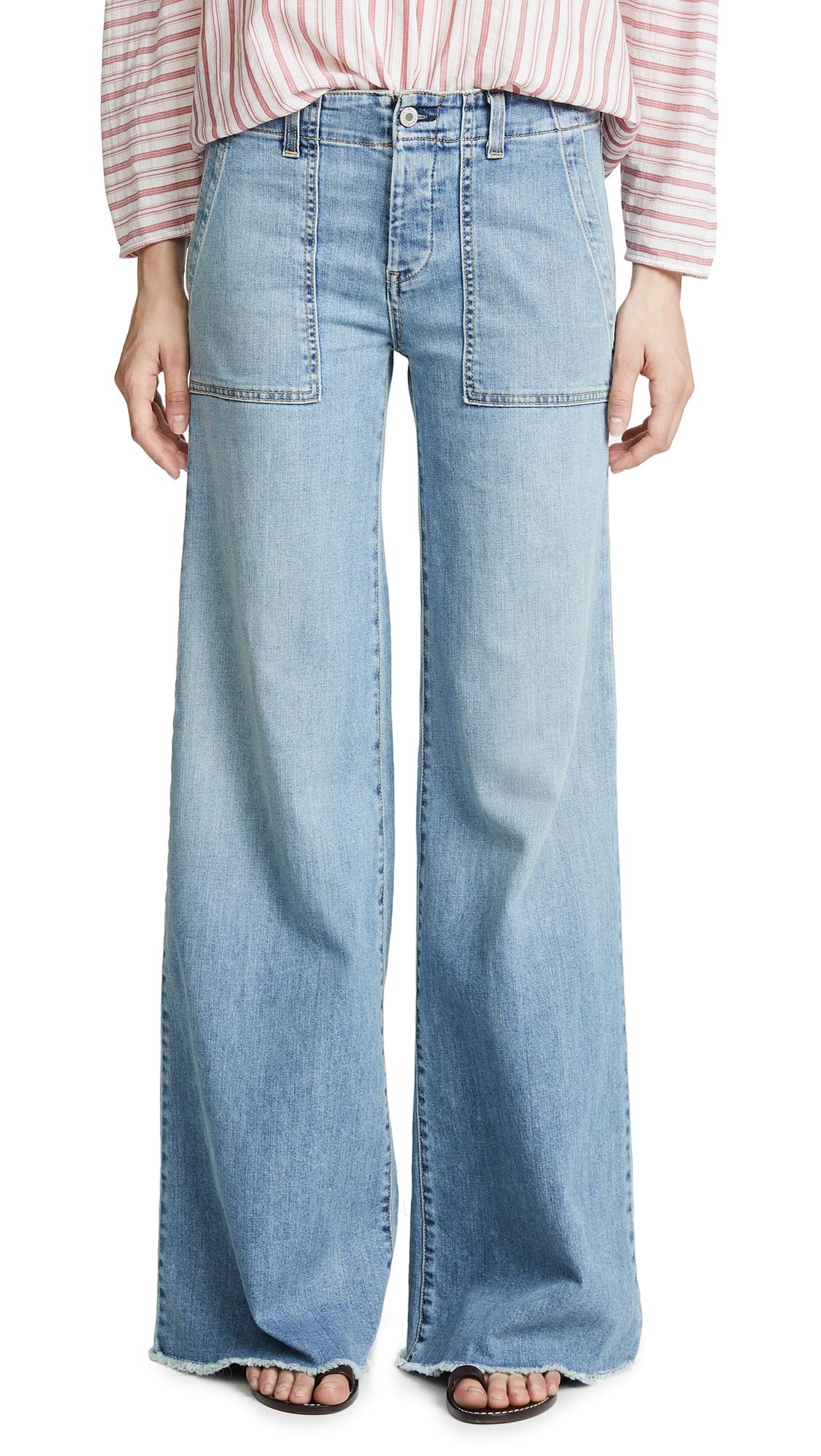 Nili Lotan Soft Cargo Jeans In Vintage Wash