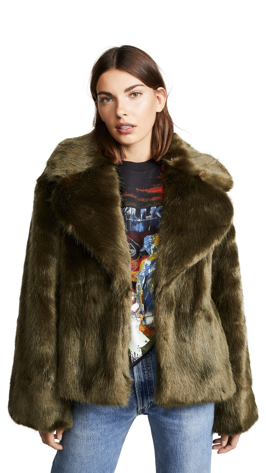 Nili Lotan Sedella Faux Fur Coat In Olive