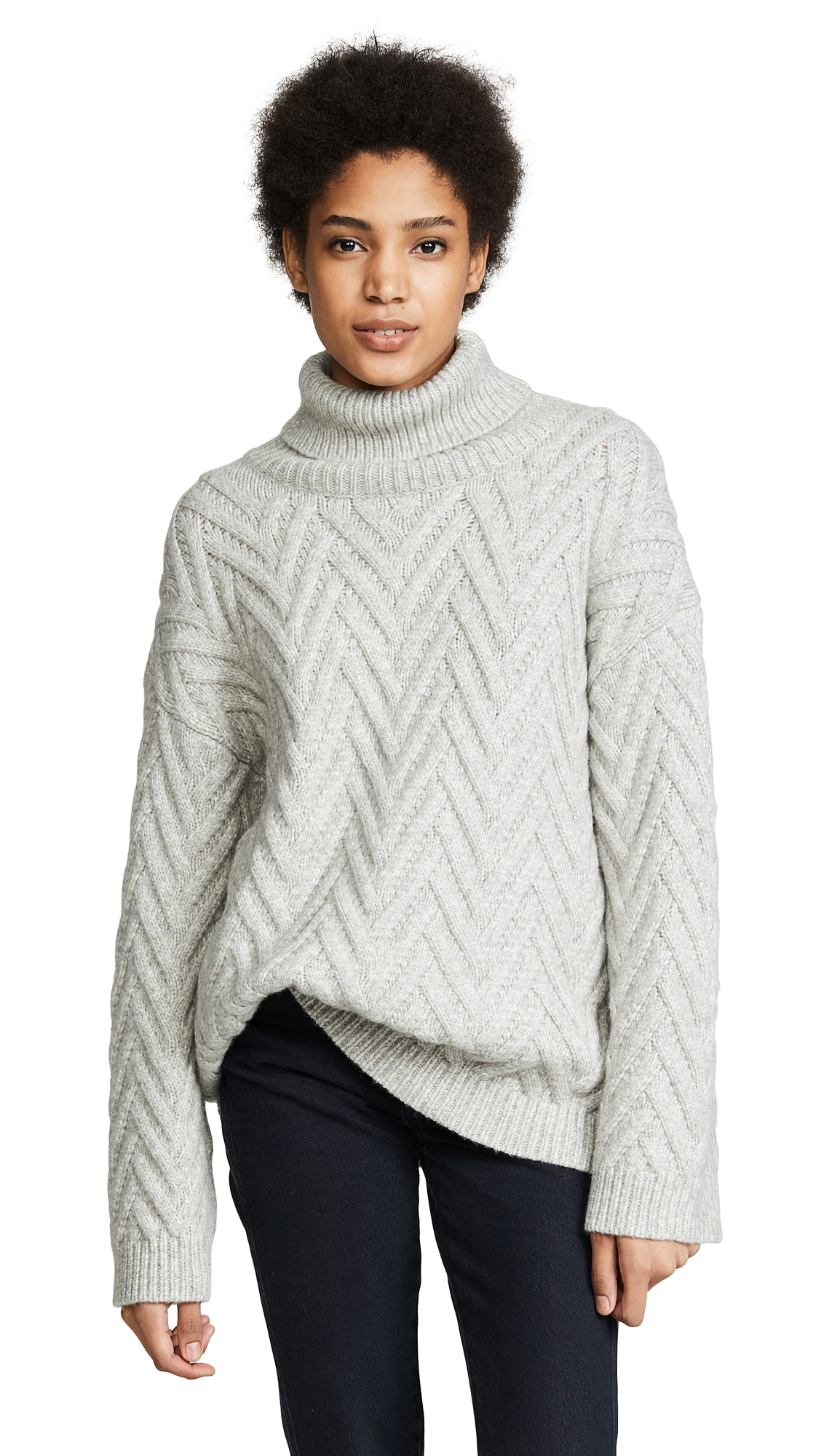 Nili Lotan Lee Sweater In Light Grey Melange