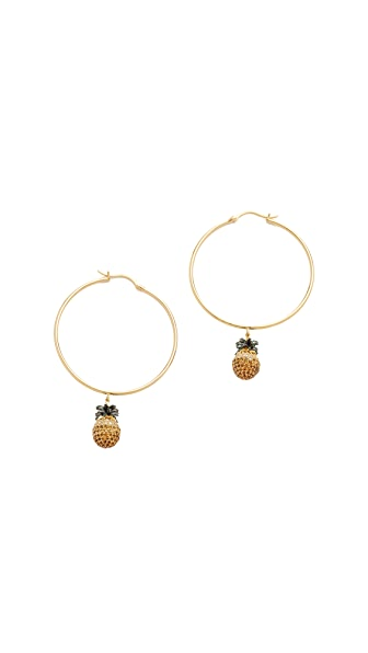Noir Jewelry Pineapple Hoop Earrings
