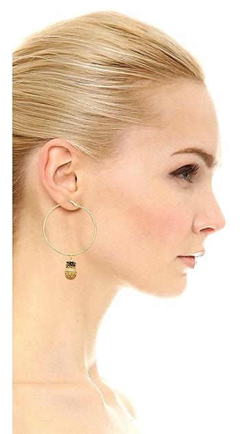 Noir Jewelry Pineapple Hoop Earrings