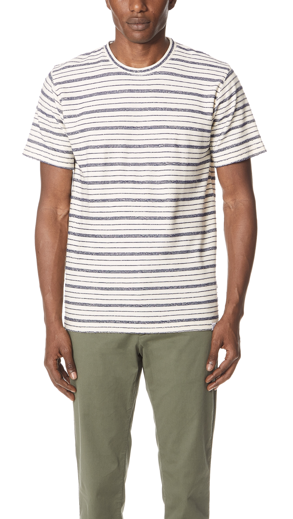 NORSE PROJECTS Niels Textured Striped Cotton-Blend Jersey T-Shirt - Cream in Blue