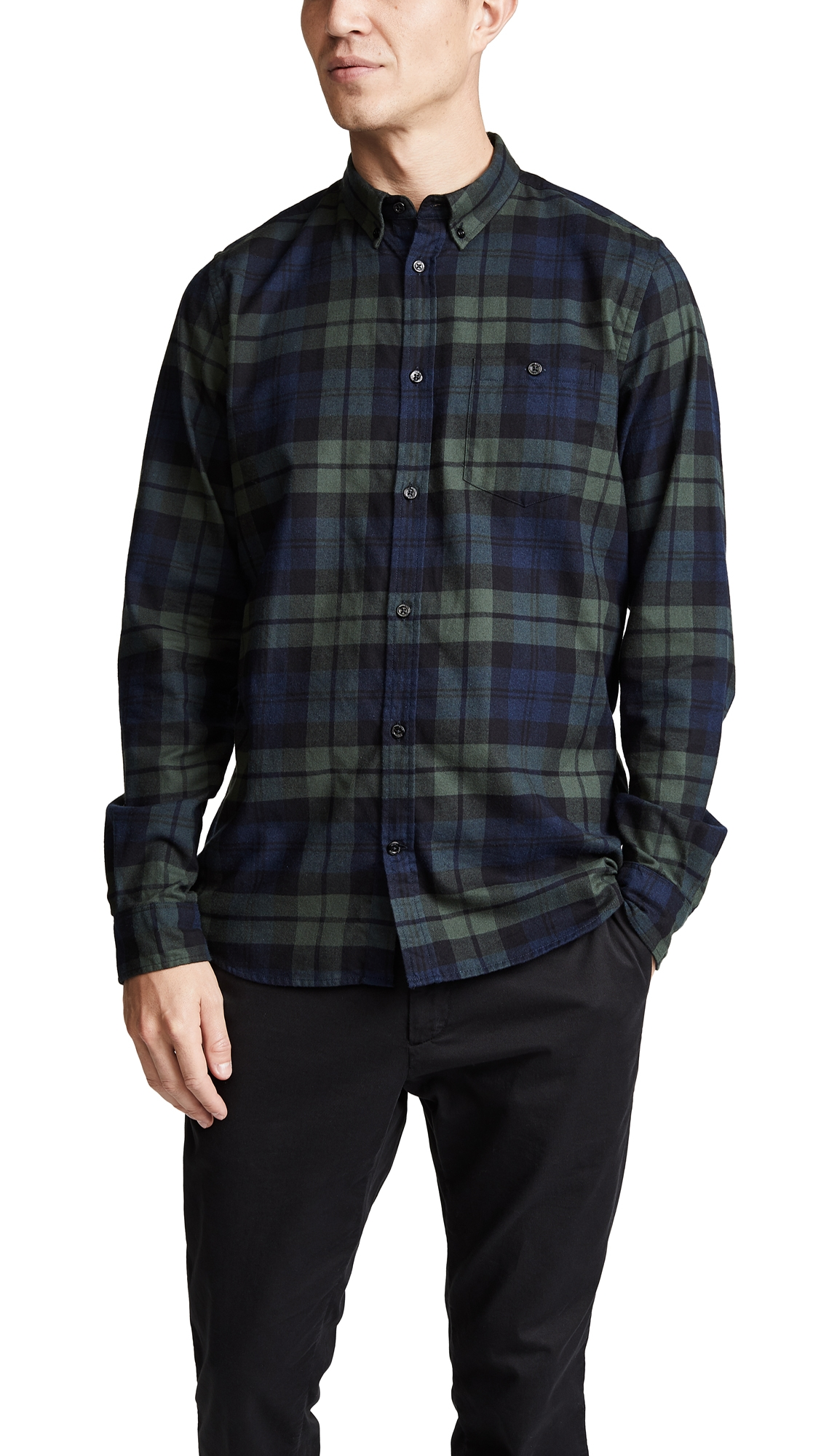 NORSE PROJECTS Anton Flannel Check Shirt in Blue