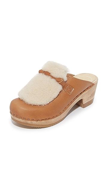 No.6 Fur Slide Clogs