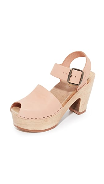 No.6 Platform Jane Clogs with Peep Toe - Naked