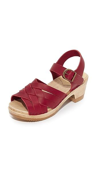 No.6 Huarache Mid Heel Clogs - Red