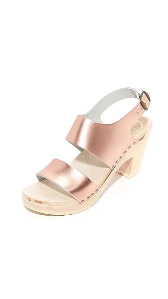 No.6 Harper Clog Sandals - Rose Gold/White Base