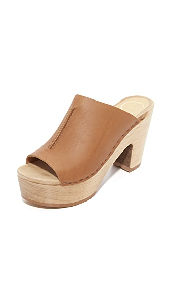 No.6 Platform Front Seam Slide Sandals - Palomino