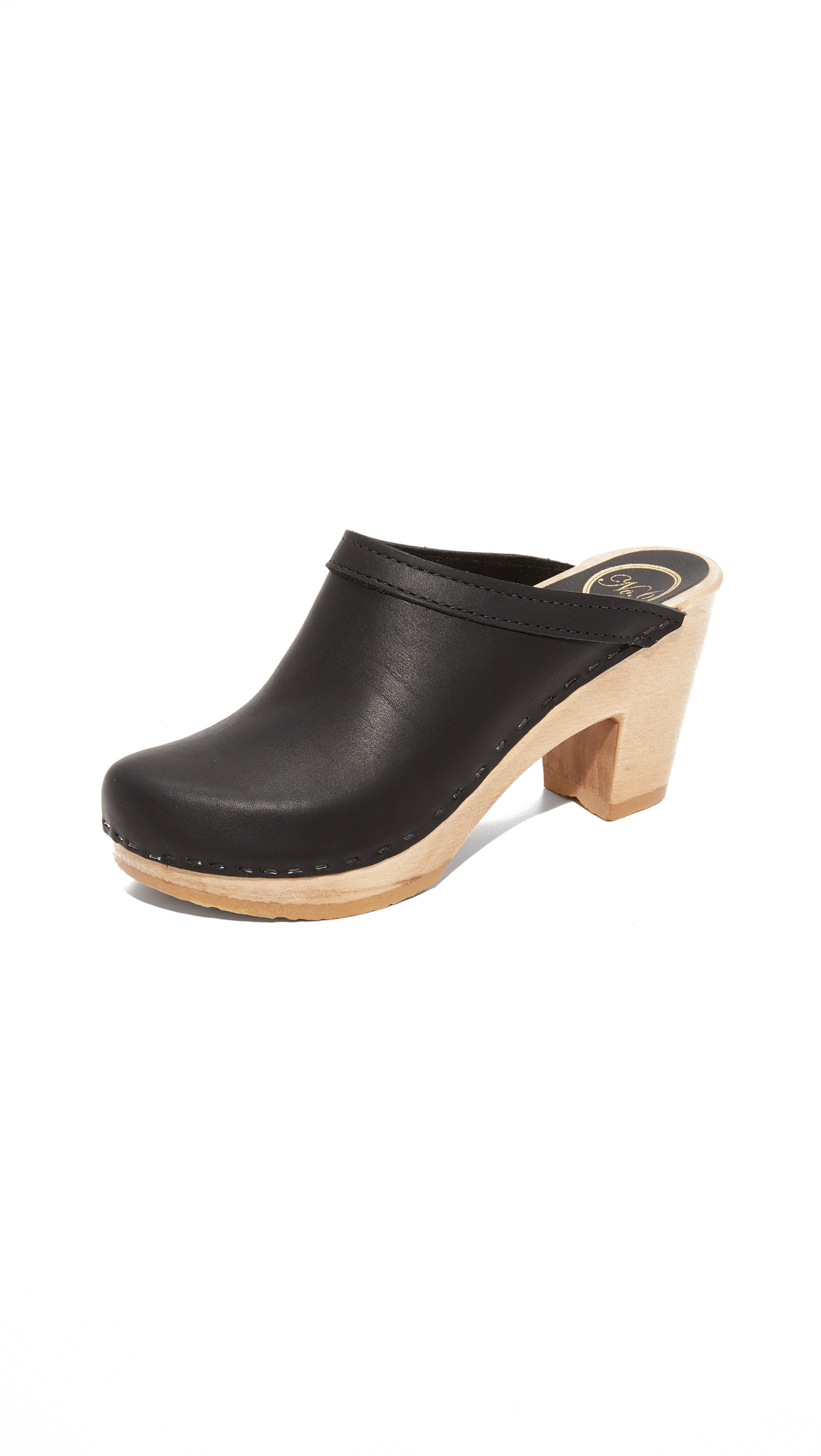No.6 Old School High Heel Clogs - Black