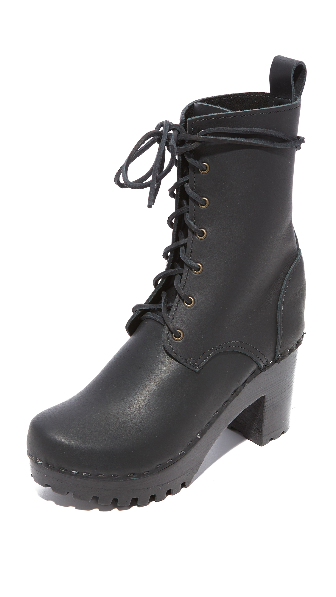 No.6 High Tread Combat Boots - Black/Black