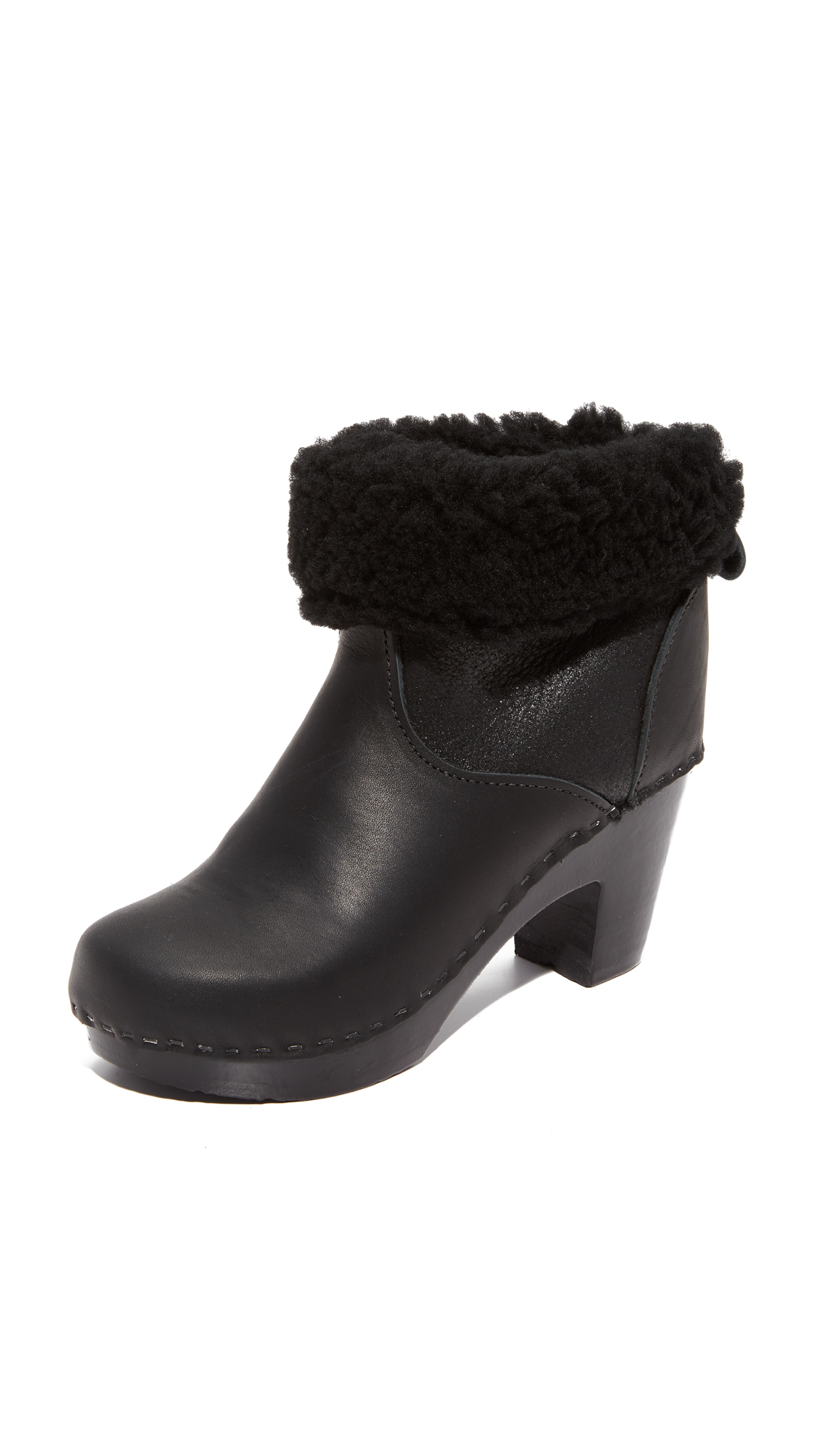 No.6 Pull On Shearling Booties - Double Black Aviator