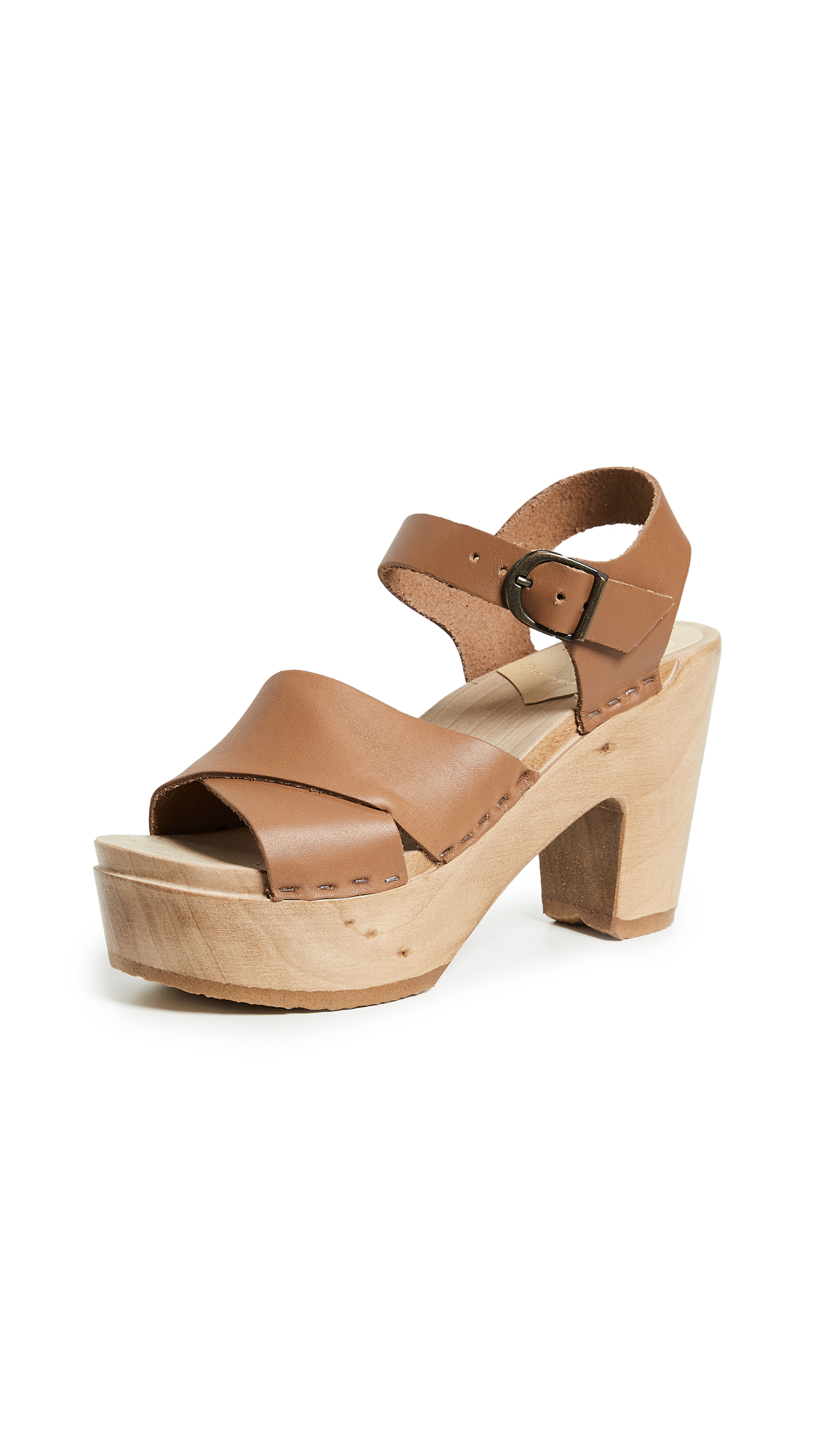 No.6 Coco Platform Sandals with Crisscross Straps - Palomino