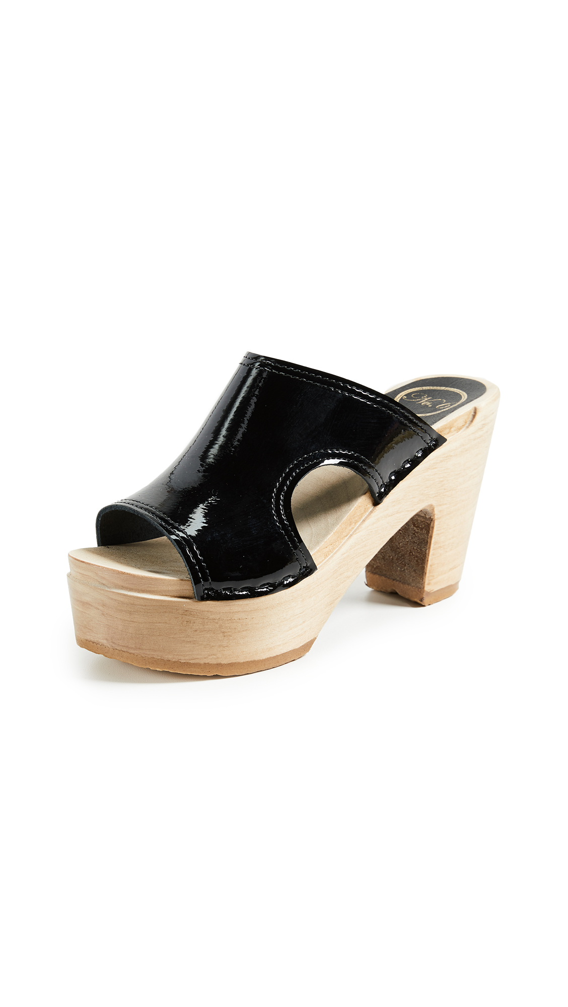 No.6 Alexis Cutout Platform Slides - Black