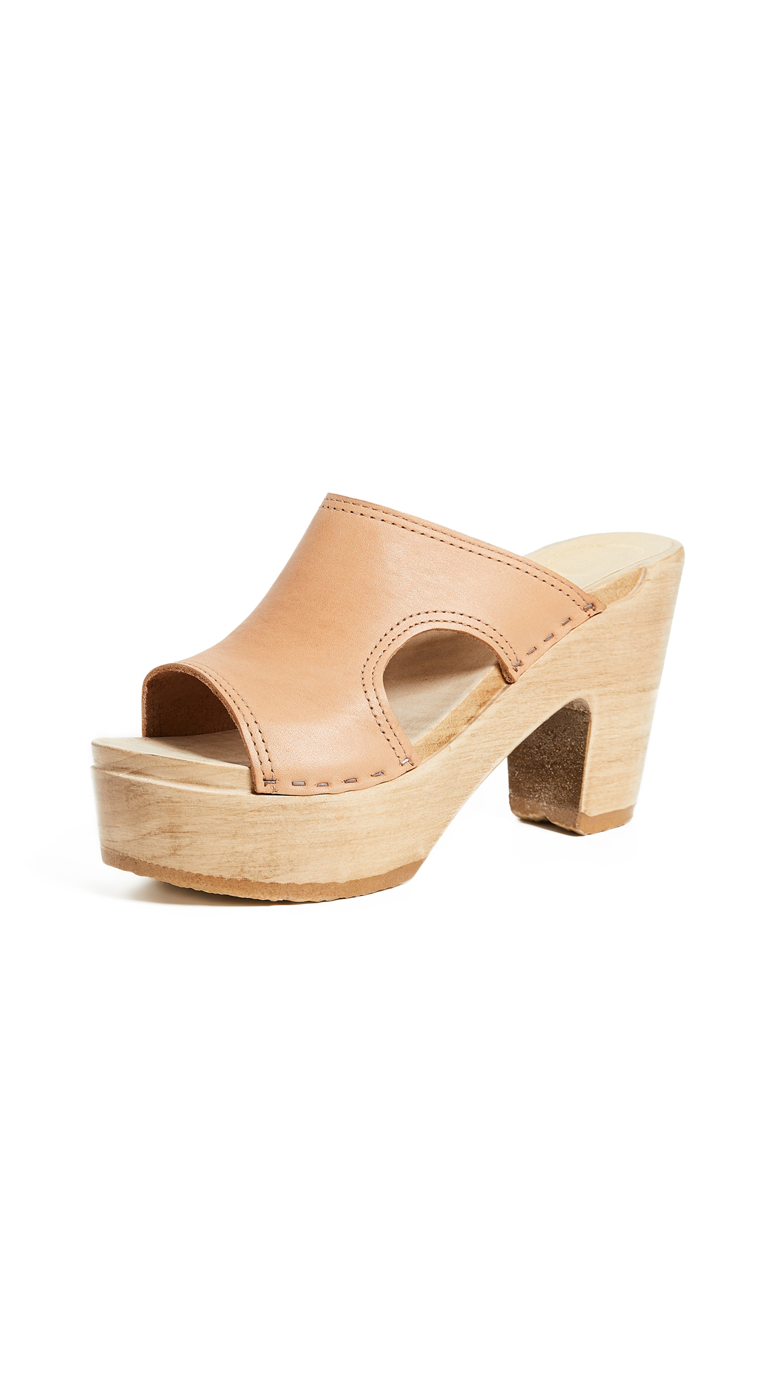 No.6 Alexis Cutout Platform Mules In Naked