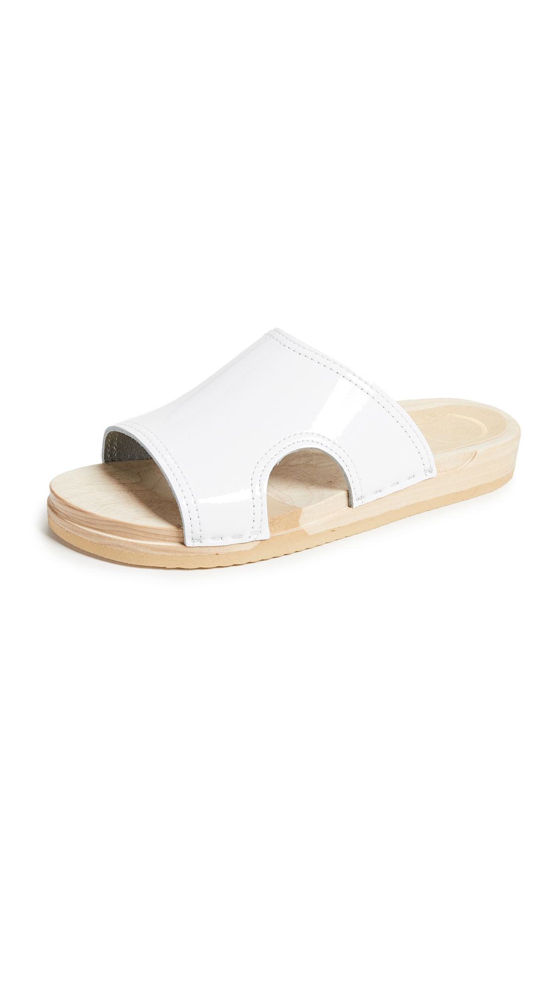No.6 Alexis Cutout Flat Slides - White