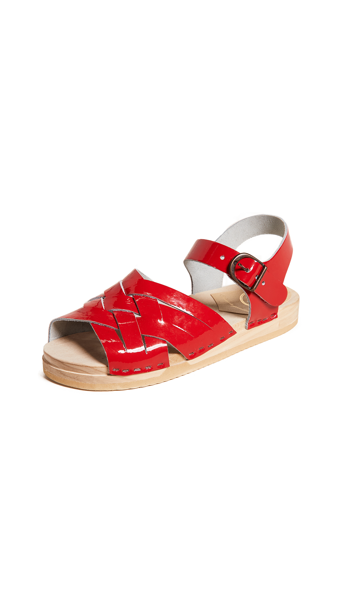 No.6 Flat Huarache Clogs - Red