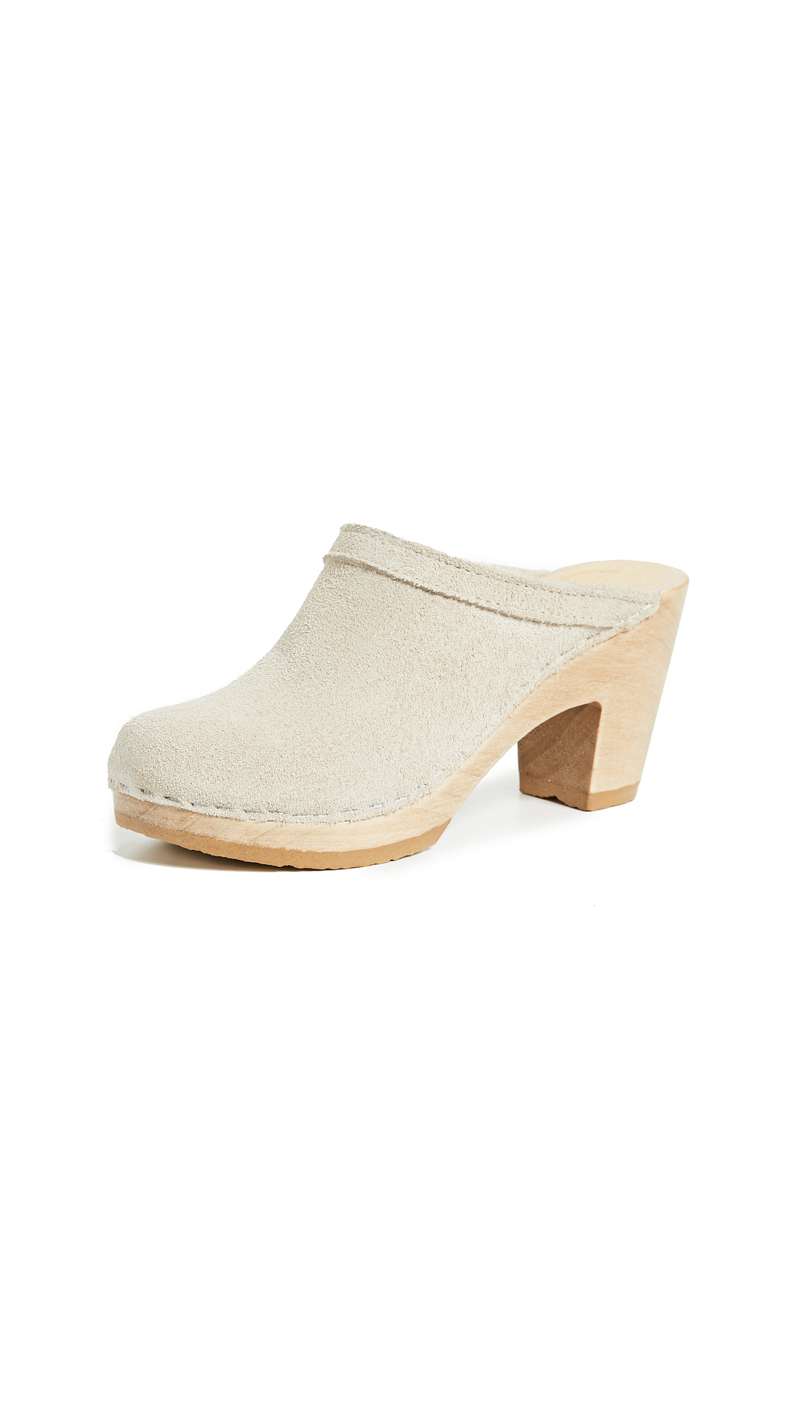 No.6 Old School High Heel Clogs - Chalk