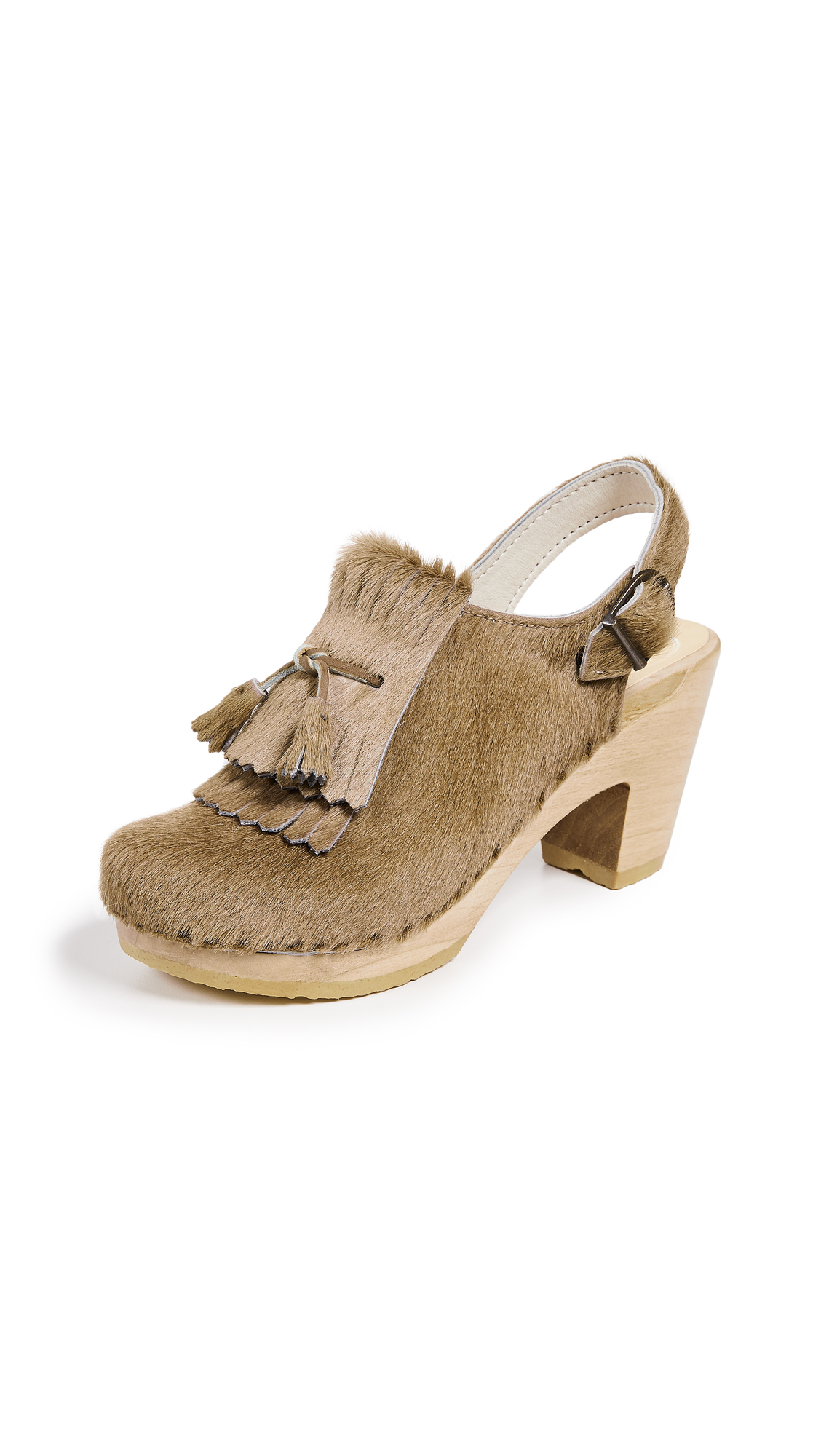 No.6 Keats Kiltie High Heel Clogs - Stone