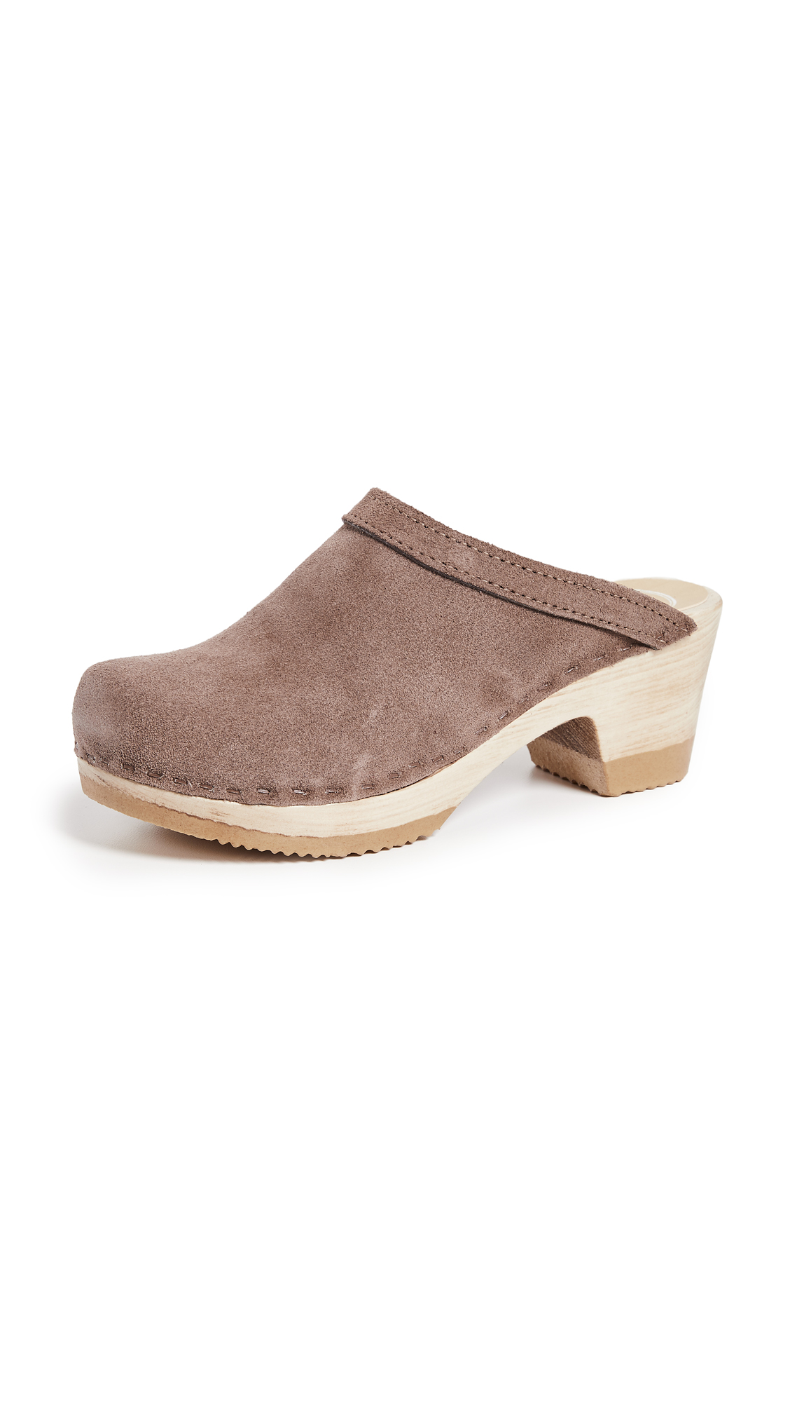 No.6 Old School Mid Heel Clog - Light Grey