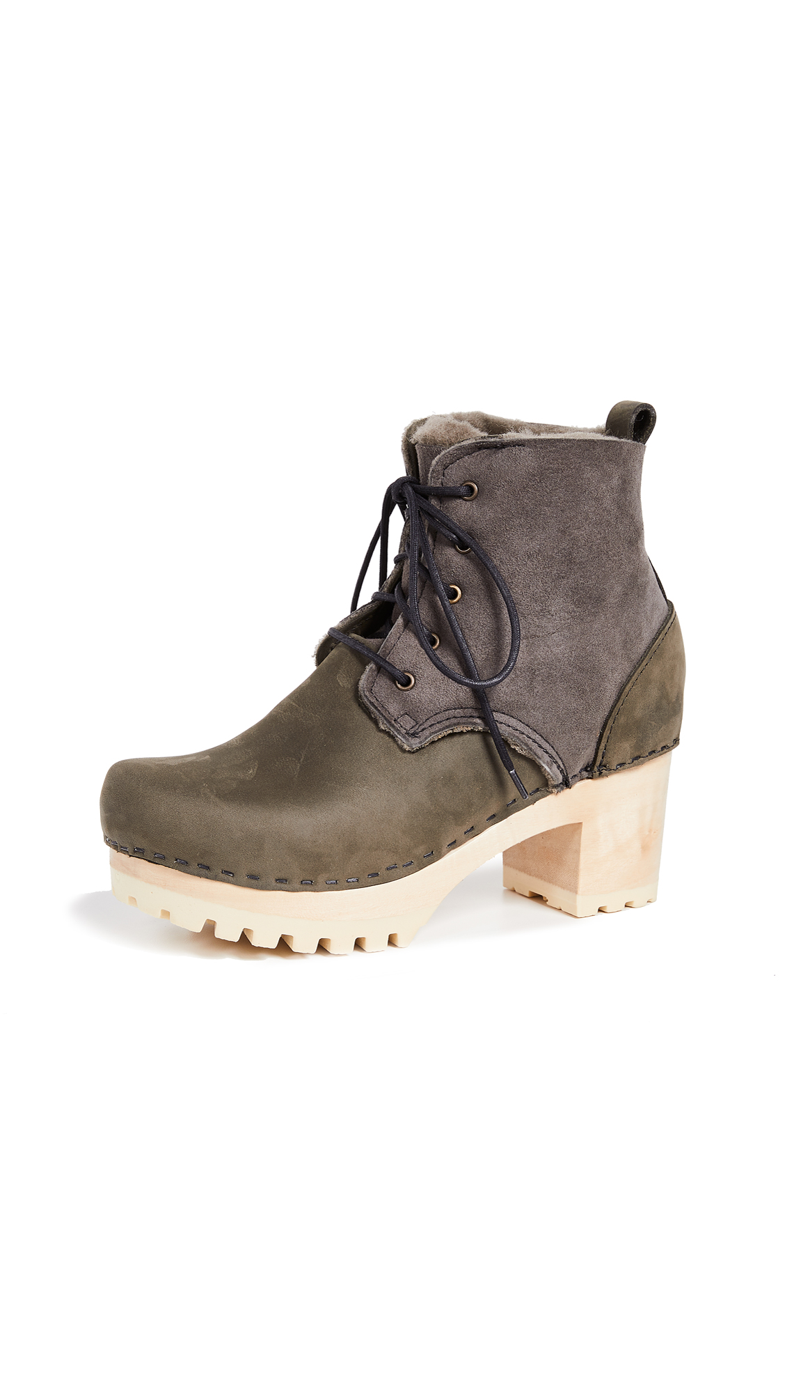 NO. 6 Lander Lace Up Shearling Boots in Storm