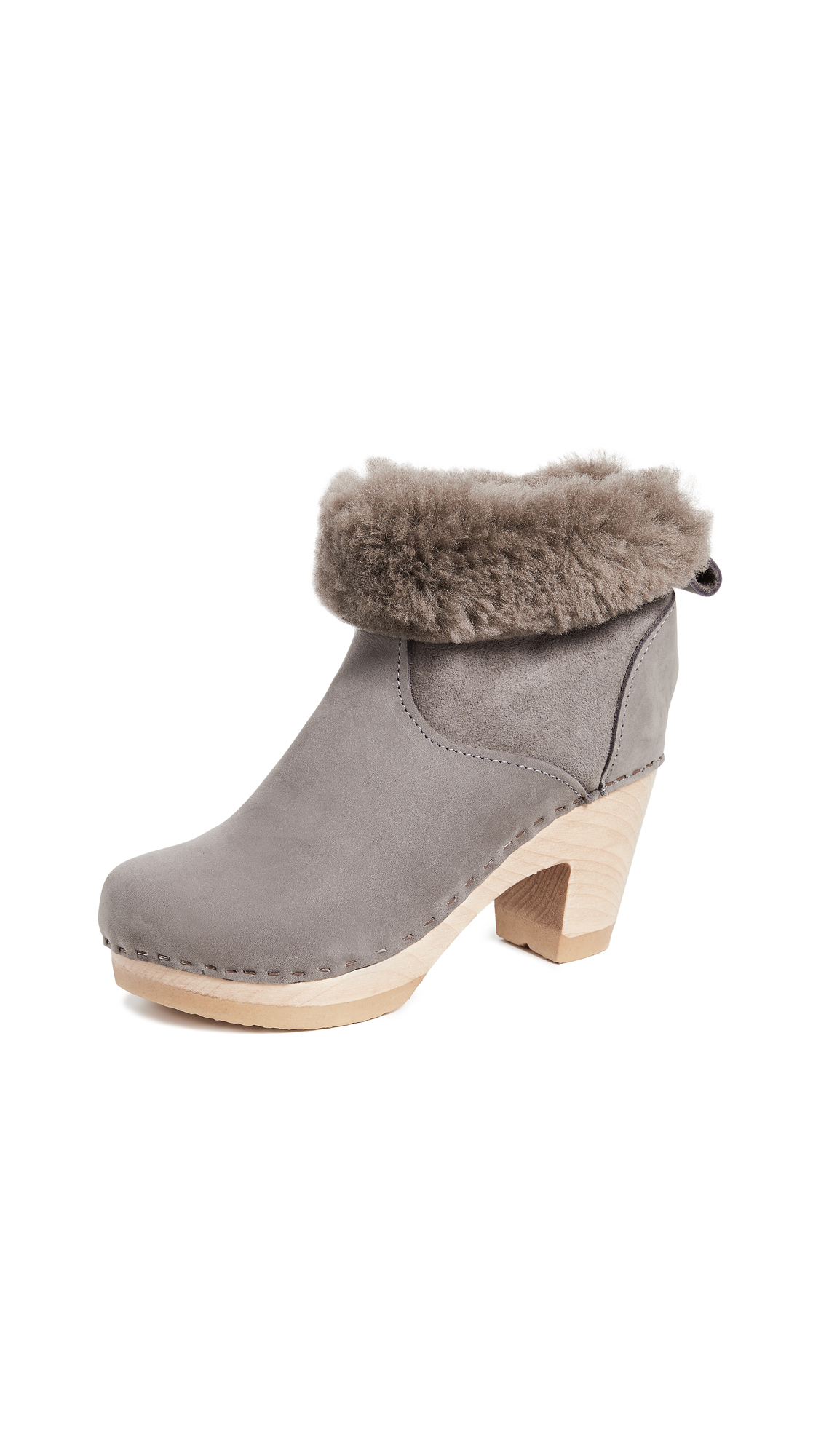 No.6 Pull On Shearling High Boots - Smoke