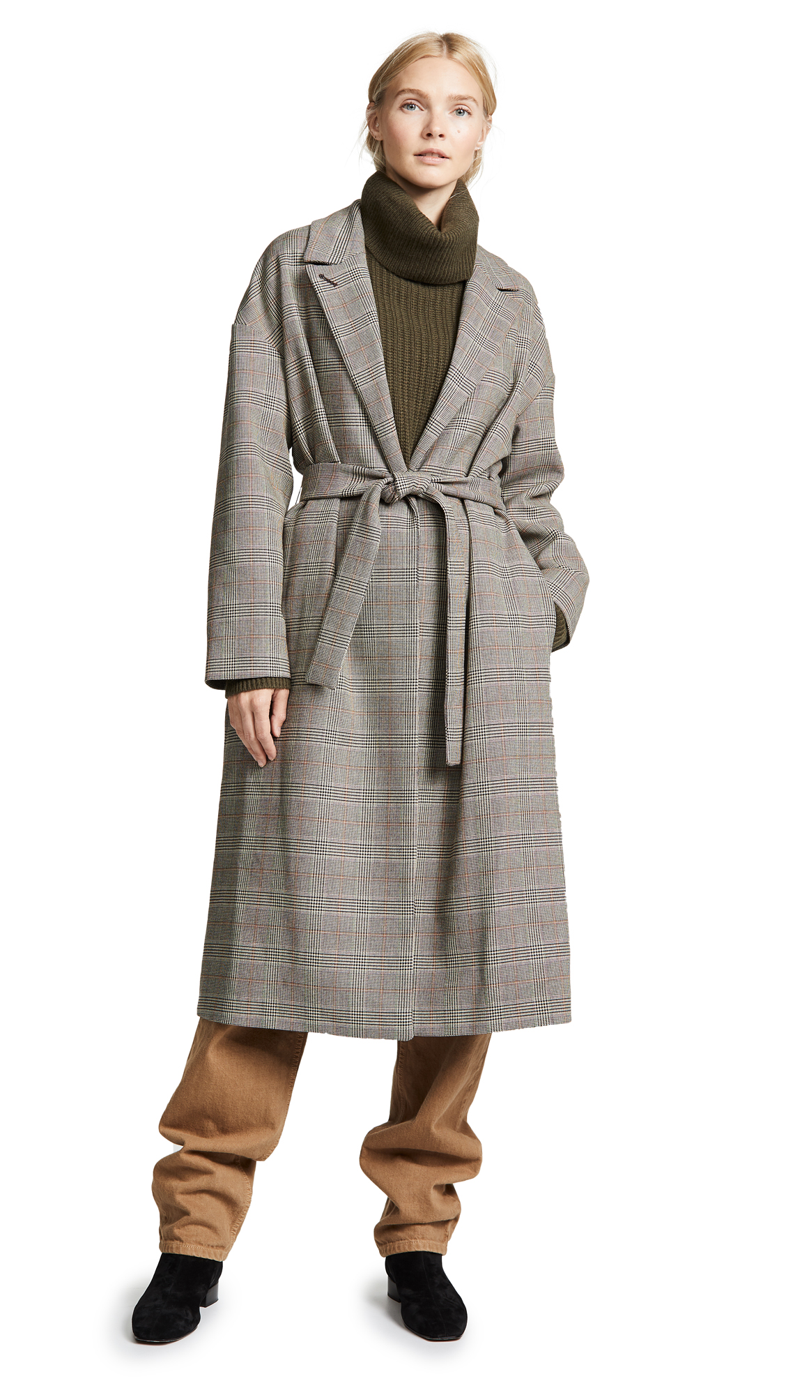 No.6 Ingrid Wrap Coat In Black/Cream Glenn Plaid