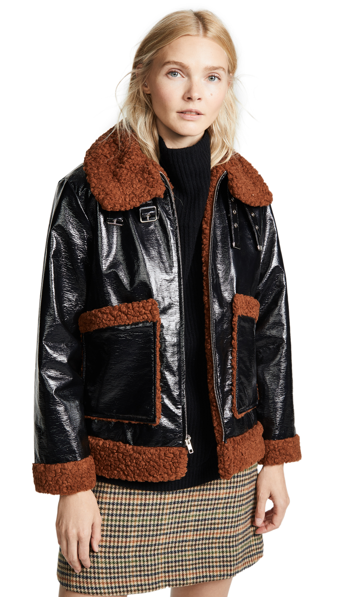 No.6 Martine Bomber In Black With Ochre Shearling