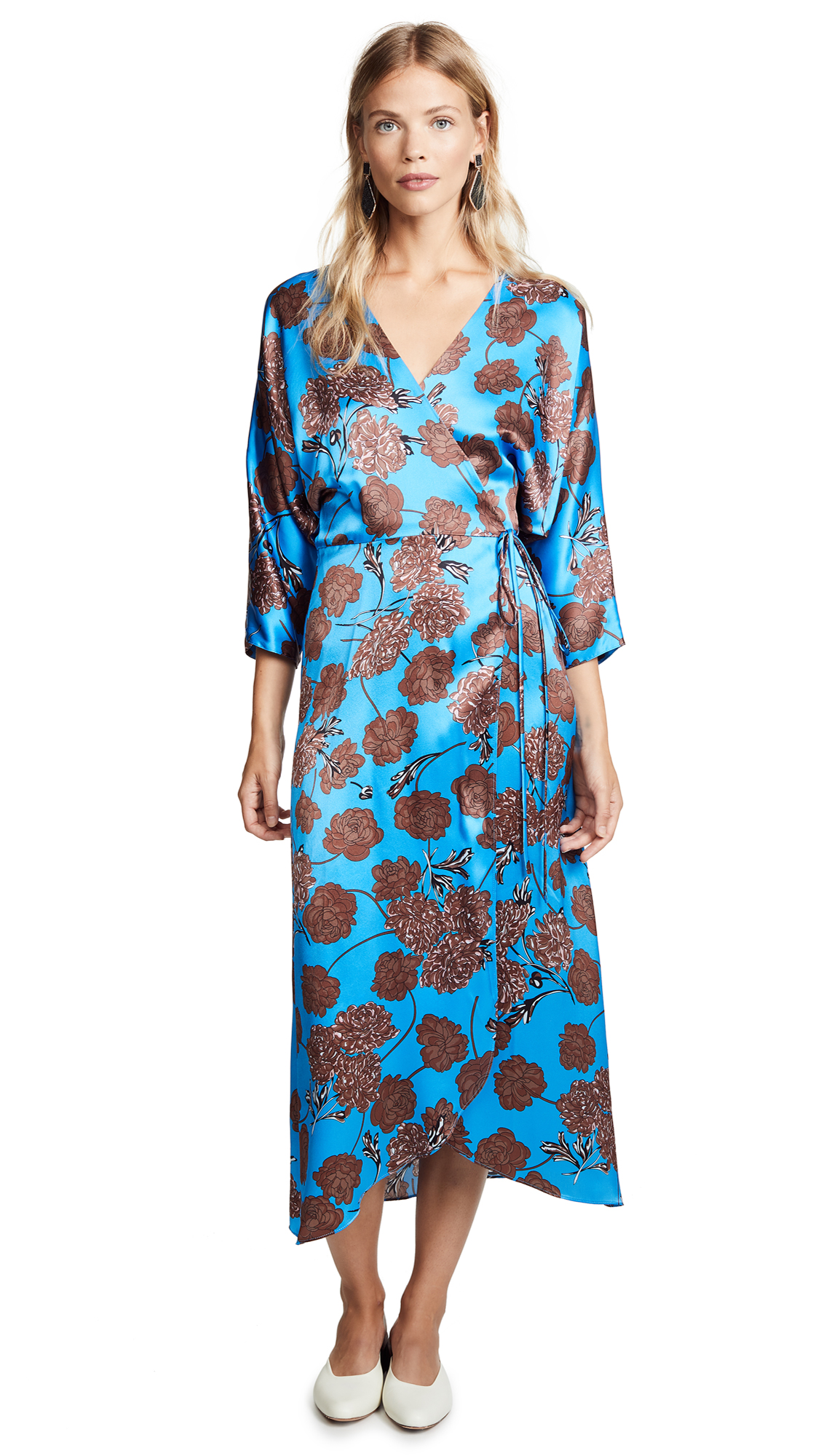 No.6 Viola Wrap Dress In Electric Blue Faux/Croix