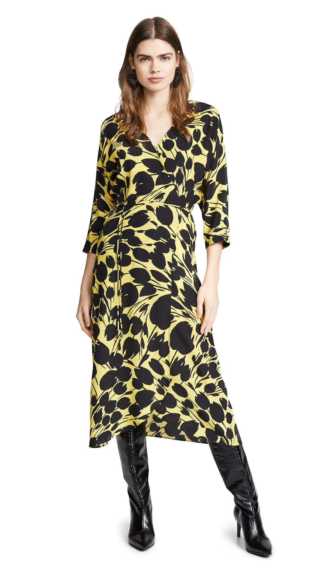 NO. 6 Viola Dress in Black/Yellow Tulip
