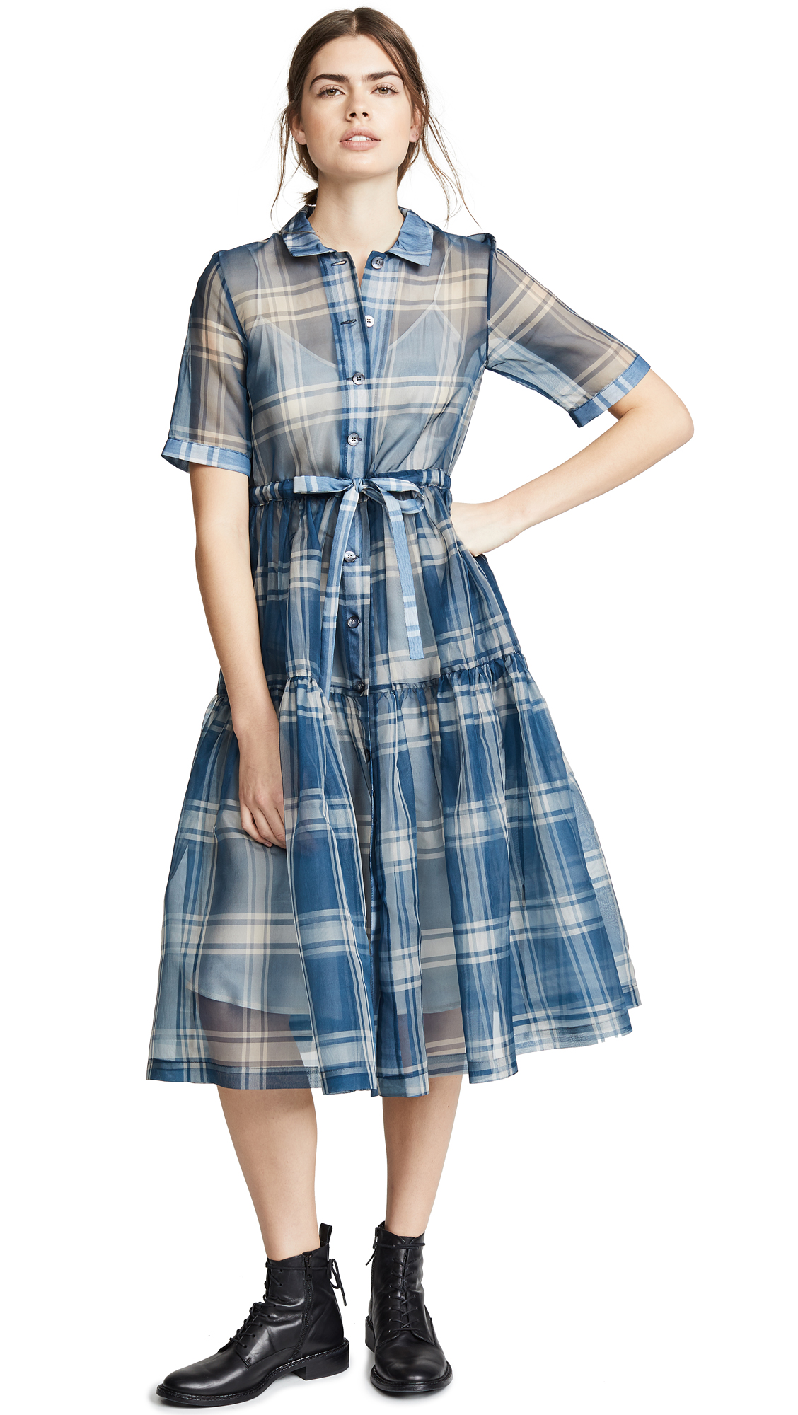 NO. 6 Cather Dress in Blue/White Plaid Organza